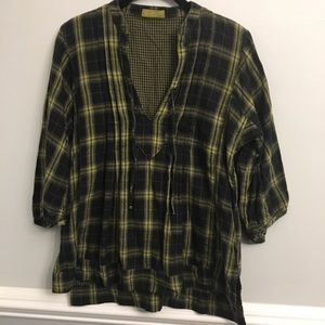 CP Shades Tie Front Plaid Tunic blouse peasant